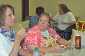 Mrs. Toni Sales is thinking is Mrs. Ruthy Mixson really going to eat that french fry in front of me?
