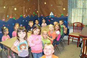 The 4s & 5s class in Vacation Bible School. This picture is kind of scary. Where is the teacher and the assistant???