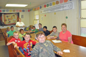 9-12 boys classroom. Mrs. Toni Sales (teacher) Mrs. Ann Hewett (not pictured was the assistant) and Mrs. Kim May (helper).