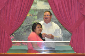 Lupe Marin getting baptized.